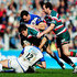 Ben Youngs Photos - Ben Youngs of Leicester Tigers is tackled by Olly Barkley of Bath during the Guinness Premiership Semi Final match between Leicester Tigers and Bath at Welford Road on May 16, 2010 in Leicester, England. - Leicester Tigers v Bath - Guinness Premiership Semi Final