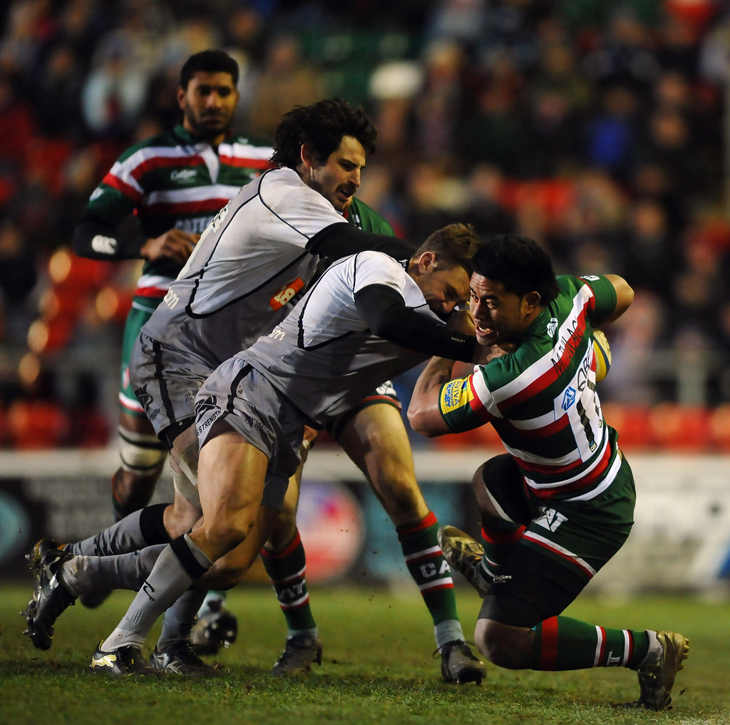 Leicester Centre Manu Tuilagi Is Tackled: Leicester Tigers V Newcastle