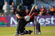 Phil Mustard of Durham Jets takes the bails off as Grant Elliott of leicestershire Foxes bats during the NatWest T20 Blast match between Leicestershire Foxes and Durham Jets at Grace Road on May 28, 2015 in Leicester, England.