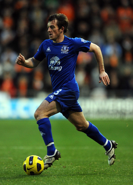 Leighton Baines Leighton Baines of Everton during the Barclays Premier League match between Blackpool and Everton at Bloomfield Road on November 6, 2010 in Blackpool, England.