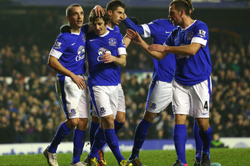 Leon Osman Leighton Baines Everton v Oldham Athletic - FA Cup Fifth Round Replay
