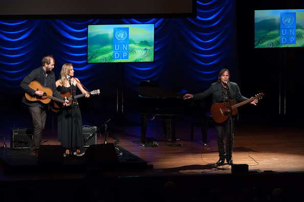 The United Nations Equator Prize Gala [performance,music,entertainment,performing arts,musician,event,stage,song,music artist,public event,justin vernon,feist,jackson browne,stage,l-r,lincoln center,new york city,avery fisher hall,united nations,equator prize gala]