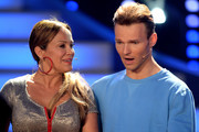 Sonja Kirchberger and Vadim Garbuzov react after being retired during the 4th show of the television competition 'Let's Dance' at Coloneum on April 8, 2016 in Cologne, Germany.