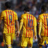 Neymar JR Photos - Luis Suarez, Lionel Messi and Neymar JR of Barcelona walk on the pitch during the La Liga match between Levante UD and FC Barcelona at Ciutat de Valencia on February 07, 2016 in Valencia, Spain. - Levante UD v FC Barcelona - La Liga