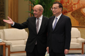 Li Keqiang French Foreign Minister Jean-Yves Le Drian Meets Chinese Premier Li Keqiang