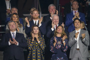Dignitaries applaud competitors during the opening ceremonies of the Invictus Games in Toronto, Ontario, September 23, 2017..Front row from left:  Ukrainian President Petro Poroshenko and his wife Maryna; Sophie Gregoire-Trudeau and her husband Prime Minister Justin Trudeau. Middle row from left: US first lady Melania Trump; Britain's Prince Harry; Canadian Governor General David Johnston, and his wife Sharon Johnston. Back rown from left: Dr. Ralf Speth, CEO of Land Rover; Ontario Premier Kathleen Wynne; Sir Keith Mills, Chairman of Invictus Games Foundation; and Michael Burns, CEO of IG2017.  / AFP PHOTO / Geoff Robins