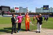 Graeme Smith of Virgo Super Kings and Jacques Kallis of Libra Legends attend the coin toss before the Oxigen Masters Champions League match between Libra Legends and Virgo Super Kings at Sharjah Cricket Stadium on February 3, 2016 in Sharjah, United Arab Emirates.