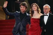 "Elio Germano, Stefania Montorsi and Director Daniele Luchetti attend the ""Our Life"" Premiere at the Palais des Festivals during the 63rd Annual Cannes Film Festival on May 20, 2010 in Cannes, France."