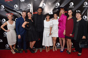 "Executive producer Marti Noxon, actor Josh Kelly, executive producer Sarah Gertrude Shapiro, actor Jeffrey Bowyer-Chapman, actress Constance Zimmer, actress Shiri Appleby, actress Breeda Wool, actress Aline Elasmer and actress Amy Hill attend Lifetime and Us Weekly's premiere party for ""UnReal"" at SIXTY Beverly Hills on May 20, 2015 in Beverly Hills, California."