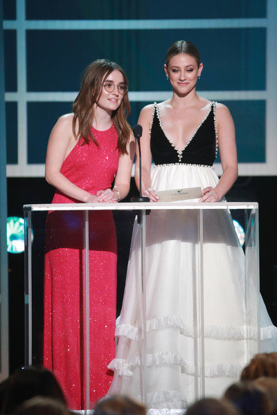 26th Annual Screen Actors Guild Awards - Show [red,fashion,event,pink,performance,dress,fashion design,talent show,formal wear,competition,lili reinhart,kaitlyn dever,screen actors guild awards,l-r,california,los angeles,the shrine auditorium,show,screen actors\u00e2 guild awards,lili reinhart,kaitlyn dever,shrine auditorium and expo hall,screen actors guild awards,actor,sag-aftra,hustlers,screen actors guild]