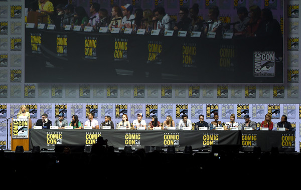 Comic-Con International 2018 - 'Riverdale' Special Video Presentation And Q&A [crowd,stadium,sport venue,fan,team,event,stage,championship,performance,night,ulrich,roberto aguirre-sacasa,kelly ripa,q a,special video presentation,l-r,video presentation,riverdale,san diego convention center,comic-con international]