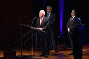 (L-R) Jose Placido Domingo, Chairman at LA Opera, Marc Stern and Alvaro Maurizio Domingo speak onstage at Lincoln Center Hall Of Fame Gala at the Alice Tully Hall on June 6, 2017 in New York City.