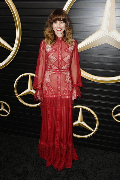 2020 Mercedes-Benz Annual Academy Viewing Party [clothing,dress,red,formal wear,fashion,lady,carpet,flooring,fashion model,gown,linda cardellini,los angeles,california,beverly hills,four seasons,mercedes-benz annual academy viewing party,mercedes-benz,academy awards viewing party,oscar viewing party,92nd academy awards,los angeles,2020,party]