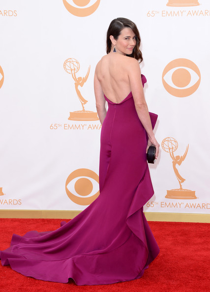 Arrivals at the 65th Annual Primetime Emmy Awards — Part 5 [red carpet,carpet,dress,clothing,shoulder,gown,flooring,a-line,purple,hairstyle,arrivals,linda cardellini,california,los angeles,nokia theatre l.a. live,primetime emmy awards]