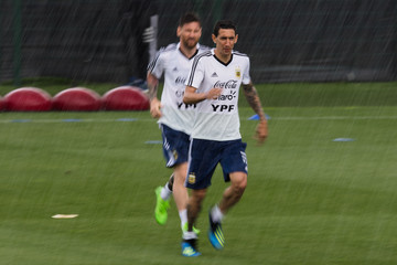 Lionel Messi Angel Di Maria Argentina Training Session