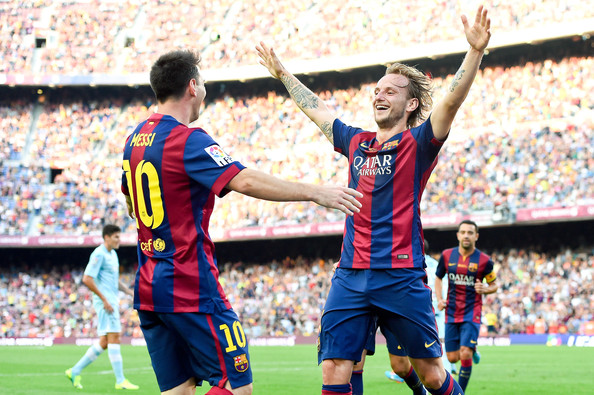 Image result for lionel messi with Ivan Rakitic