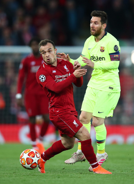 Lionel Messi Xherdan Shaqiri Lionel Messi And Xherdan Shaqiri Photos Liverpool Vs Barcelona Uefa Champions League Semi Final Second Leg Zimbio