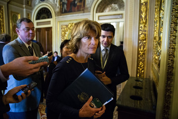 Lisa Murkowski Senate Lawmakers Speak To The Press After Their Weekly Policy Luncheons