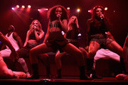 (EXCLUSIVE COVERAGE) Jade Thirlwall, Leigh-Anne Pinnock,  Perrie Edwards and Jesy Nelson from Little Mix perform for KISS FM at The KISS Secret Sessions gig on July 10, 2015 in London, England.
