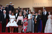 """Andre Dussollier, Guillaume Gallienne,  Florence Foresti, Laurent Lafitte, Clara Poincare, Masahiko Tsugawa, Rio Suzuki, Asaka Seto,  Marion Cotillard,  Marion Cotillard, Riley Osborne, Charlotte Vandermeersch, Mark Osborne and Mackenzie Foy attend the Premiere of """"The Little Prince"""" during the 68th annual Cannes Film Festival on May 22, 2015 in Cannes, France."""