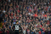 Neymar of Paris Saint-Germain looks on during the Group C match of the UEFA Champions League between Liverpool and Paris Saint-Germain at Anfield on September 18, 2018 in Liverpool, United Kingdom.