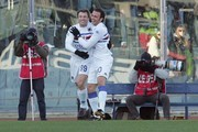 Antonio Cassano (L) is congratulated by Giampaolo Pazzini of UC Sampdoria after scoring a goal during the Serie A match between Livorno and Sampdoria at Stadio Armando Picchi on December 20, 2009 in Livorno, Italy.