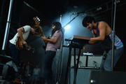 Jacob Tilley, Payam Doostzadeh and Sameer Gadhia of Young the Giant perform during 2014 Lollapalooza Day Three at Grant Park on August 3, 2014 in Chicago, Illinois.