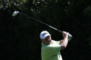 Steve King of Kingswood golf club plays a tee shot during the Lombard Trophy South Qualifier at Camberley Heath golf club on May 27, 2015 in Camberley, United Kingdom.