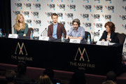 Producer Helen Estabrook, Ansel Elgort, Director Jason Reitman and Hilary Oliver attend the London Film Festival Official Photocall and Press Conference of Paramount Pictures 'Men, Women & Children' at May Fair Hotel on October 9, 2014 in London, England.