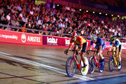 (L-R) Benjamin Thomas of France, Steven Burke of Great Britain and Kenny De Ketele of Belgium sprint in the finals laps of the 10km Points Race on Day 3 of the London Six Day Race and the Lee Valley Velopark, London on October 26, 2017 in London, England.