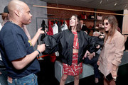 Designer Shayne Oliver (L), Patricia Manfield and Calu Rivero attend the Longchamp by Shayne Oliver Preview at Longchamp SoHo on May 3, 2018 in New York City.