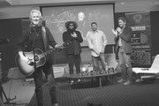 Image has been converted to black and white) L/R: Kris Kristofferson, Recording Artist/Producer Don Was, Keith Wortman Blackbird Productions and Joseph Hudak Rolling Stone attend A Look Into The Life & Songs Of Kris Kristofferson at The Steps at WME on October 26, 2017 in Nashville, Tennessee.