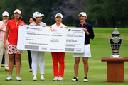 (L-R) Juli Inkster of the United States, Se Ri Pak of Korea, Sei Young Kim of Korea and Lorena Ochoa of Mexico hold the ceremonial winners check for $1,000,000 after  the final round of the Citibanamex Lorena Ochoa Match Play Presented by Aeromexico and Delta at Club De Golf Mexico  on May 7, 2017 in Mexico City, Mexico.