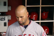 Albert Pujols #5 of the Los Angeles Angels in the dugout during the MLB game against the Arizona Diamondbacks at Chase Field on August 22, 2018 in Phoenix, Arizona. The Diamondbacks defeated the Angels 5-1.