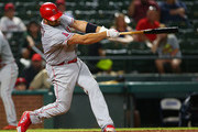 Albert Pujols #5 of the Los Angeles Angels of Anaheim hits in the in the seventh inning against the Texas Rangers at Globe Life Park in Arlington on August 18, 2018 in Arlington, Texas.