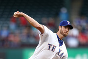 Doug Fister #38 of the Texas Rangers throws against the Los Angeles Angels in the first inning at Globe Life Park in Arlington on April 9, 2018 in Arlington, Texas.