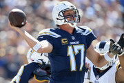 Quarterback Philip Rivers #17 of the Los Angeles Chargers throws the ball during the second quarter of the game against the Los Angeles Rams at Los Angeles Memorial Coliseum on September 23, 2018 in Los Angeles, California.
