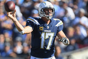 Quarterback Philip Rivers #17 of the Los Angeles Chargers passes the ball in the third quarter of the game against the Los Angeles Rams at Los Angeles Memorial Coliseum on September 23, 2018 in Los Angeles, California.