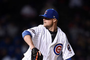Jon Lester #34 of the Chicago Cubs throws a pitch during the sixth inning of a game against the Los Angeles Dodgers at Wrigley Field on April 10, 2017 in Chicago, Illinois.