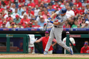 Chase Utley #26 of the Los Angeles Dodgers flies out to left field in the sixth inning during a game against the Philadelphia Phillies at Citizens Bank Park on July 25, 2018 in Philadelphia, Pennsylvania. The Phillies won 7-3.
