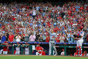 Chase Utley #26 of the Los Angeles Dodgers acknowledges a standing ovation before his first at bat in the second inning during a game against the Philadelphia Phillies at Citizens Bank Park on July 23, 2018 in Philadelphia, Pennsylvania.