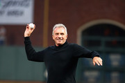 Former NFL quarterback Joe Montana throws out the ceremonial first pitch before the San Francisco Giants game against the Los Angeles Dodgers at AT&T Park on September 12, 2017 in San Francisco, California.