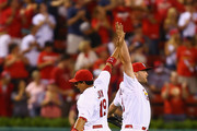 Matt Holliday #7  and Jon Jay #19 of the St. Louis Cardinals celebrate after beating the Los Angeles Dodgers at Busch Stadium on July 18, 2014 in St. Louis, Missouri.  The Cardinals beat the Dodgers 3-2.
