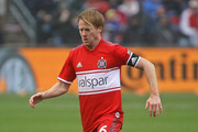 Dax McCarty #6 of the Chicago Fire controls the ball against the Los Angeles Galaxy at Toyota Park on April 14, 2018 in Bridgeview, Illinois. The Galaxy defeated the Fire 1-0.