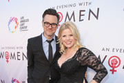 "Actors Brian Gallagher and Megan Hilty at the Los Angeles LGBT Center's ""An Evening With Women"" at Hollywood Palladium on May 13, 2017 in Los Angeles, California."