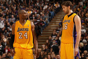 Kobe Bryant #24 talks to Pau Gasol #16 of the Los Angeles Lakers during their game against the Sacramento Kings at Power Balance Pavilion on December 26, 2011 in Sacramento, California.  NOTE TO USER: User expressly acknowledges and agrees that, by downloading and or using this photograph, User is consenting to the terms and conditions of the Getty Images License Agreement.
