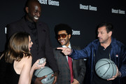 "(L-R) Julia Fox, Kevin Garnett, The Weeknd and Adam Sandler attends the Los Angeles premiere of ""Uncut Gems"" on December 11, 2019 in Los Angeles, California."