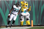 Chris Ivory #33 of the Jacksonville Jaguars celebrates after a 22-yard touchdown in the first half of their game against the Los Angeles Rams at EverBank Field on October 15, 2017 in Jacksonville, Florida.