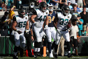 Chris Ivory #33 of the Jacksonville Jaguars celebrates with his teammates after a 22-yard touchdown in the first half of their game against the Los Angeles Rams at EverBank Field on October 15, 2017 in Jacksonville, Florida.
