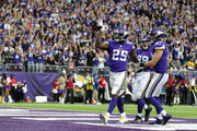 Latavius Murray #25 of the Minnesota Vikings celebrates after scoring a touchdown in the second quarter of the game against the Los Angeles Rams on November 19, 2017 at U.S. Bank Stadium in Minneapolis, Minnesota.